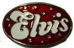 Elvis Red and White Oval Belt Buckle + display stand. Product Code AE1